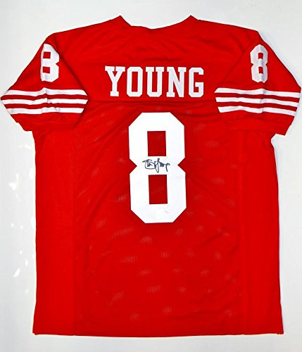 Steve Young Autographed Pro Football - Steve Young Autographed Red Pro Style Jersey- JSA Witnessed Auth