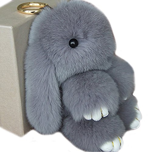 Cute Fluffy Rabbit Bunny Fur Keychain for Women Girls Pom Pom Car Key Chain Soft Plush Doll Ball Keyring Toy Handbag Purse Bag Cellphone Key Holder Charms Ring Decor Pendant Ornament Christmas Gifts
