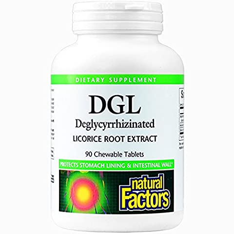 Natural Factors - DGL Licorice Root 400mg, Supports the Integrity of the Stomach Lining, 90 Chewable - 90 Chewable Tabs