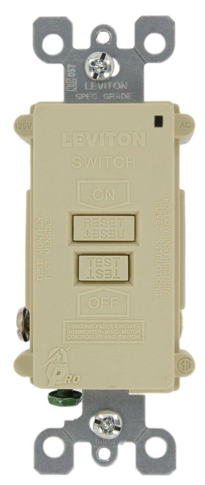 Leviton 7590-I 20 Amp 120 Volt, SmartlockPro Blank Face GFCI, with Dual Function Indicator Light, Ivory