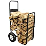 Sunnydaze Firewood Log Cart Carrier, Outdoor or Indoor Wood Rack Storage Mover, Rolling Dolly Hauler