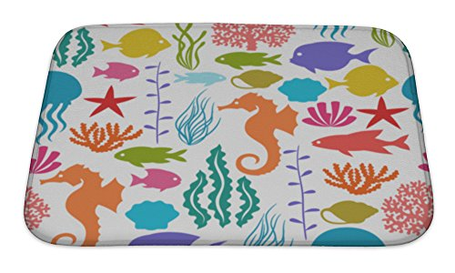 Gear New Bath Rug Mat No Slip Microfiber Memory Foam, Marine Life Pattern With Sea Animals, 24x17 (Life Sea Memory)