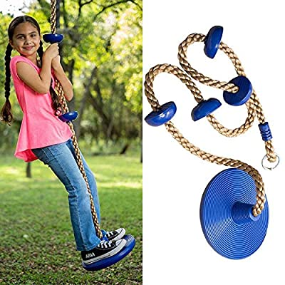 Casol Tree Climbing Rope and Kids Disc Swing Seat Set limbing Rope for Kids with Foot Hold Platforms, Disc Tree Swing Seat, and Hanging Kit Outdoor Swings and Swing Set : Sports & Outdoors