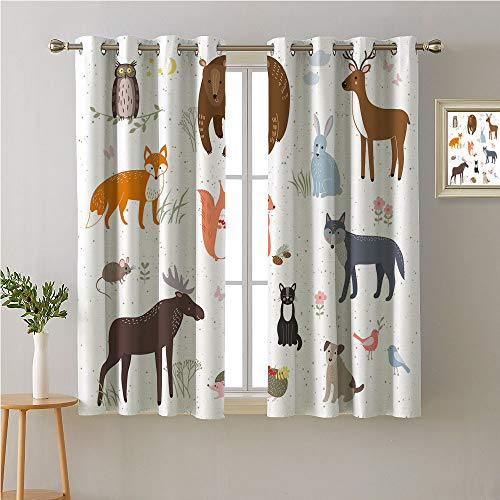 - Cabin Grommet Room/Bedroom,,Cute Animals in The Springtime Meadow Childish Woodland Fauna Kids Baby Room Nursery,Window Darkening Curtains,108W x 72L