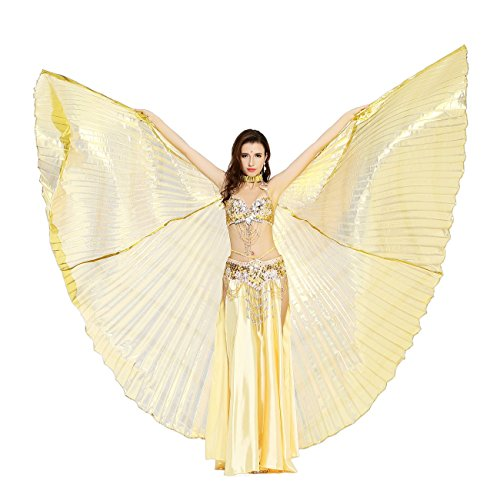 [Dance Fairy Gold Transparent Belly Dance Isis Wings] (Goddess Of Love Costume For Kids)