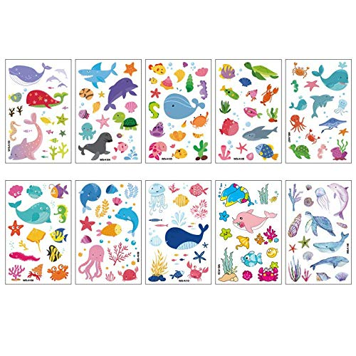 10PCS/Package Marine children tattoo stickers environmental protection waterproof sweat whale dolphin fish disposable stickers