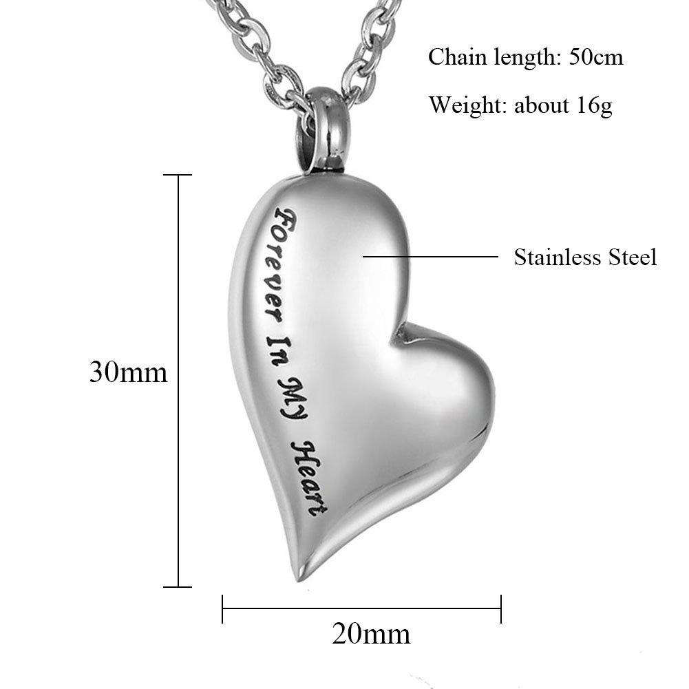 TTVOVO Cremation Urn Necklace for Ashes Engraved Forever in my heart Charm Pendant Memorial Keepsake Bereavement Stainless Steel Jewelry by TTVOVO (Image #2)