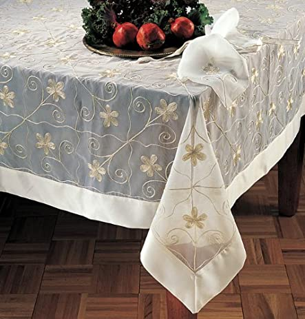 Floral Embroidery Satin Border Sheer White Tablecloth. 72 Inch Square. One  Piece.