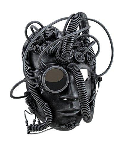 Man Droid Full Face Steampunk Cyborg Mask w/Goggle Silver]()