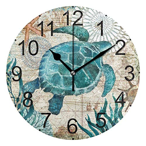 LUCASE LEMON ALEX Blue Sea Turtle Nautical Map Round Acrylic Wall Clock Non Ticking Silent Clocks for Home Decor Living Room Kitchen Bedroom Office - Turtle Clock Sea