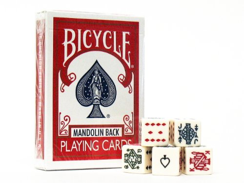 - Bicycle Mandolin Back Red Poker 809 Playing Cards, with 5 Poker Dice Set Game