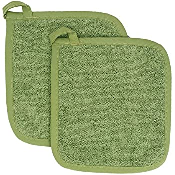 Ritz Royale Collection 100% Cotton Terry Cloth Pot Holder Set, Kitchen Hot Pad, 2-Pack, Cactus Green