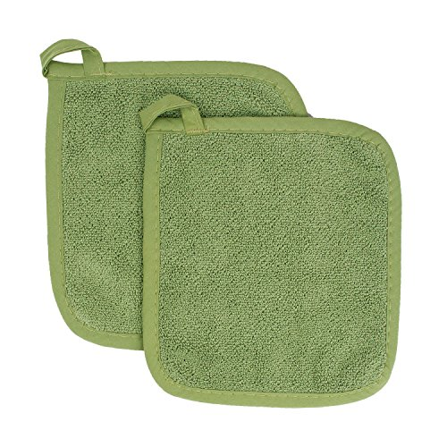 Green Pot Holder - Ritz Royale Collection 100% Cotton Terry Cloth Pot Holder Set, Kitchen Hot Pad, 2-Pack, Cactus Green