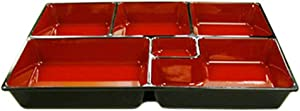 JapanBargain , Lunch Bento Box 6 Compartments Japanese Traditional Plastic Lacquered for Restaurant or Home Made in Japan Red and Black Color 11.75