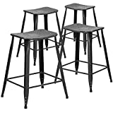 Flash Furniture 4 Pk. 24'' High Distressed Black Metal Indoor-Outdoor Counter Height Saddle Comfort Stool