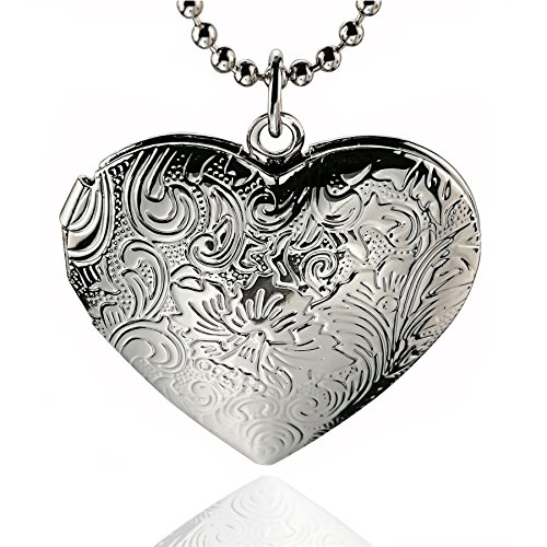 Heart Shaped Photo Locket Necklace Flower Pendant Jewelry For Women Girls Men,Mothers Day Gifts (silver tone-1)