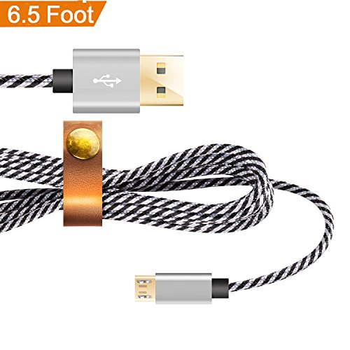 Micro USB Cable,Nylon Braided Date Cable [6.5ft]/2M USB Charging Cable,Dimi High Speed Sync And Fast Charging Cable USB Cable for Android,Samsung, Huawei,HTC,Sony,Xiaomi and more,Black/White - Leather White Digital Player Case