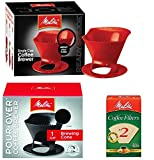 Melitta Ready Set Joe Single Cup Pour Over Coffee Brewer Maker - 1 Black & 1 Red + #2 Natural Brown Cone Coffee Filters 100-Count