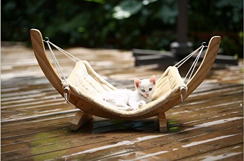 Xcellent Global Pet Cat Hammock Kitten Puppy Cradle Bed Sofa Plush Cushion Mat with Wood Stand 271313 inch PT020