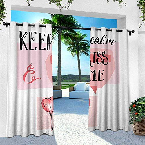Keep Calm, Outdoor Curtain Waterproof Rustproof Grommet Drape,Kiss Me Speech Bubble Heart Shape Lollipop in Pink Pastel Colors Romantic, W96 x L108 Inch, Coral Pink Black