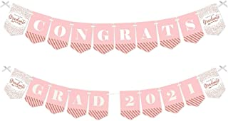 product image for Big Dot of Happiness Rose Gold Grad - 2021 Graduation Party Bunting Banner - Party Decorations - Congrats Grad 2020