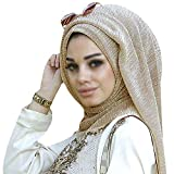 YAOSEN Women Solid Shimmer Hijab Muslim Head Wrap Long Scarf (Shimmer-Gold)