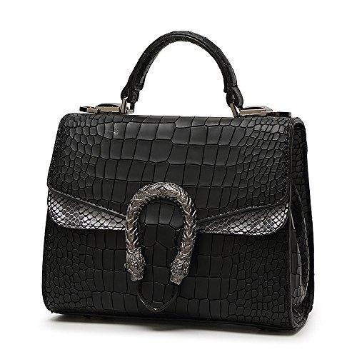 Mn&Sue Cross-body Bag for Womens Handbag Designer Fashion Single Shoulder Messager Bags Alligator Pattern (Black)