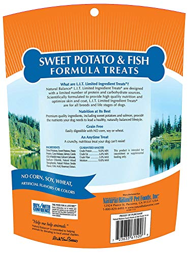 Natural Balance Limited Ingredient Treats Sweet Potato & Fish Formula Dog Treats, 14 Ounces, Grain Free