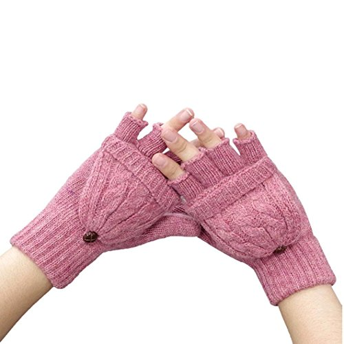Guantes calientes para Mujeres,Ouneed ® Invierno mantener caliente calentador guantes sin dedos lana rosa
