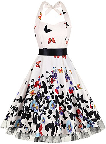 OTEN Womens Vintage Halter Floral Polka Dot 1950s Retro Rockabilly Sewing Cocktail Tea Dresses, Medium, Butterfly 1 (Dress Polka Dot Floral)