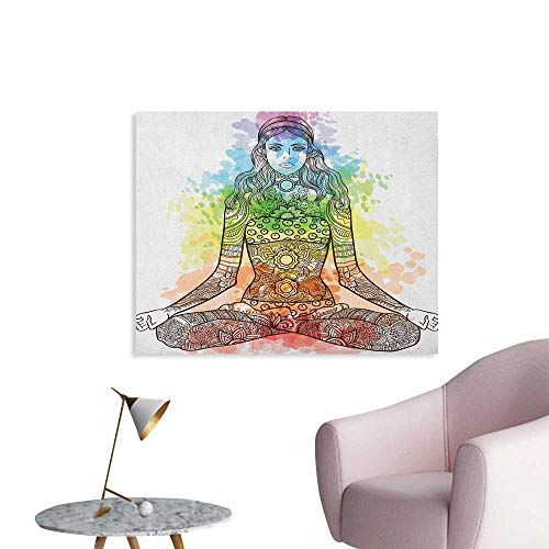 Anzhutwelve Yoga Wallpaper Tattoo Mehndi Style Vintage Ornate Woman Figure in Lotus Pose Chakra Aura Watercolor The Office Poster Multicolor W36 xL32