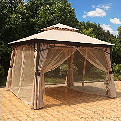 MASTERCANOPY Patio Soft Top Gazebo 11.5×11.5 Round Post Gazebo Canopy Iron Shelter with Mosquito Netting and Privacy Wall, GHGN-001