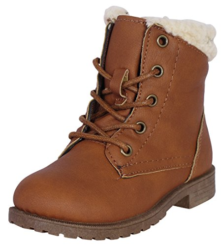 'Bebe Toddler Girls Ankle Boot with Bebe Lurex Embroidery and Sherpa Cuff, Cognac, Size 10'