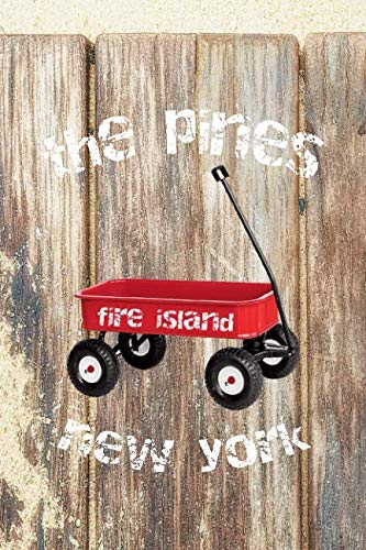 THE PINES FIRE ISLAND NEW YORK: 6x9 lined journal : long island summer vacation : red wagon boardwalk beach sand