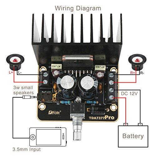 Placa del amplificador estéreo del coche, Droking 30W + 30W Clase AB Amplificador de audio para el automóvil 2.0 Placa de amplificador estéreo dorado de ...