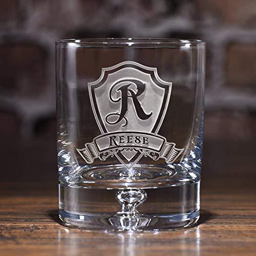 Engraved Crystal Rocks Whiskey, Scotch, Bourbon Glasses SET OF 2 (M30)