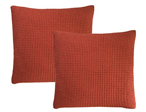 PHF Waffle Euro Sham Cover 100% Cotton Square Throw Pillow Cover Pack of 2 26
