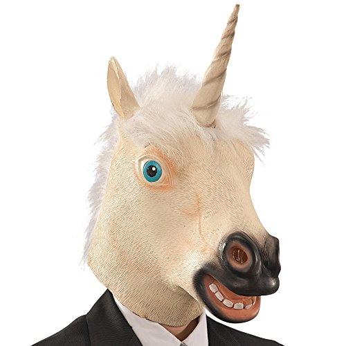 Carnival Mask Unicorn 1466-Toys Latex in Bag with Exhaust, Ivory