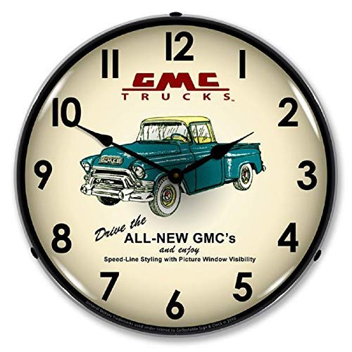 "GMC Truck 1956 Green Yellow Pickup Wall Clock 14"" Lighted Backlit GM Chevrolet Made USA Warranty"