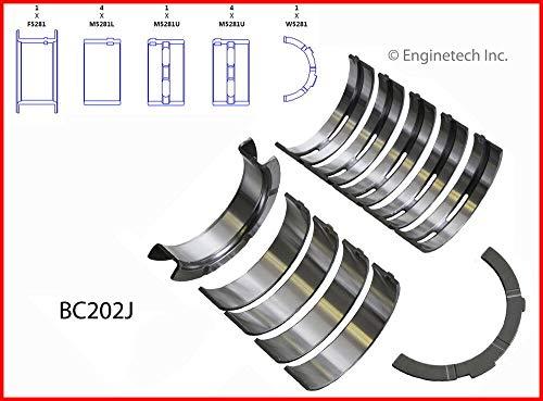 ENGINETECH BC202J.25 MAIN BEARINGS SET (SIZE:010) compatible with 1993-2014 FORD MERCURY 4.6L 281 SOHC V8 16V 24V 32V (ENGINES W/ALUMINUM BLOCKS)