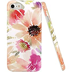 iPhone 7 Case, iPhone 8 Case, JIAXIUFEN Gold Flowers Watercolor Slim Flexible TPU Soft Rubber Silicone Cover Phone Case for Apple iPhone 7/iPhone 8