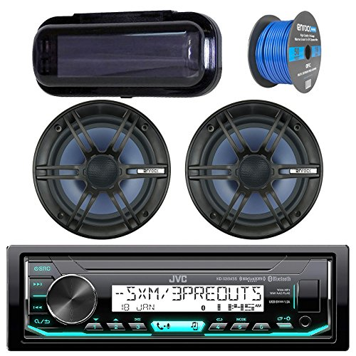 - JVC In-Dash Marine Boat Bluetooth Radio USB Receiver Bundle Combo with Pair of Enrock 6.5