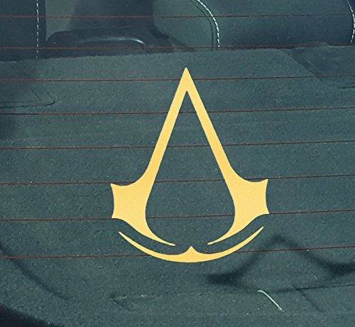 [GS2043 Assassin's-Creed-logo Car Truck Laptop Sticker Decal 5-Inches Tall | Gold Vinyl Decal] (Ezio Costume Black Edition)