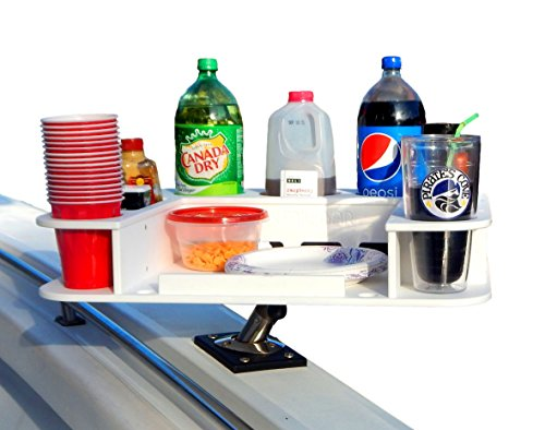 Docktail Butler Marine Food and Beverage Table - Includes Rod Holder Mount - Instant Serving Area for Grilling and Cup and Bottle Storage - Durable All Weather Construction - Boat Party Caddy Gift
