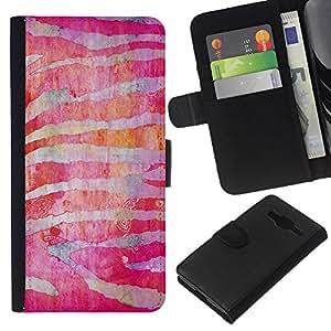 [Neutron-Star] Modelo colorido cuero de la carpeta del tirón del caso cubierta piel Holster Funda protecció Para Samsung Galaxy Core Prime [Zebra Stripes Rojo Fucsia]