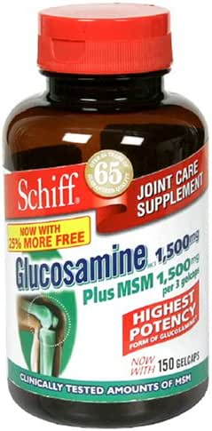 Schiff Glucosamine HCl 1500 mg Plus MSM 1500 mg Per 3 coated tablets, 150 coated tablets (Pack of 2)
