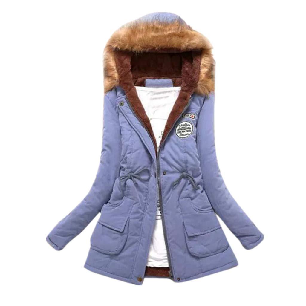 Toamen Womens Coat Autumn Winter Warm Fur Collar Slim Fit Monochrome Zipper Long Hooded Jacket Parka Outwear