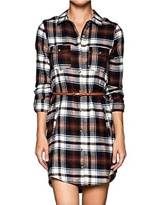 makeitmint Women's Roll Up Long Plaid Shirt Dress w/ Belt