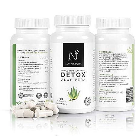Detox Aloe Vera+Hinojo. Plan detox adelgazante natural para eliminar toxinas y limpieza de colon.Suplemento alimenticio vegetal a base de aloe vera ...