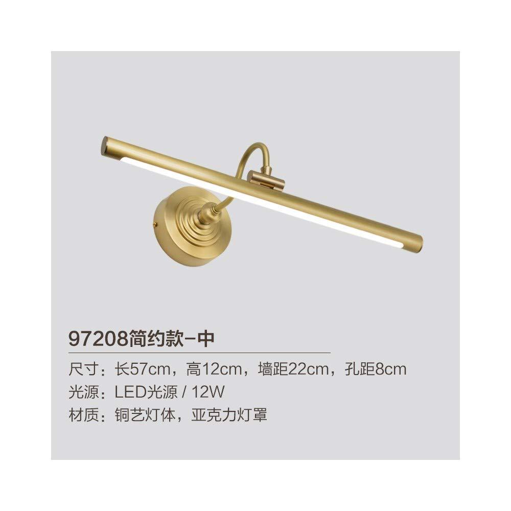 T-YJQD Kupfer Spiegel Scheinwerfer LED amerikanische Badezimmerspiegel Schrank Lampe Bad Schminktisch Make-up Lampe Nordic, 57cm, 12w